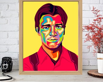 NATHAN FILLION Print - Colorful Poster Drawing Art - Malcolm Reynolds