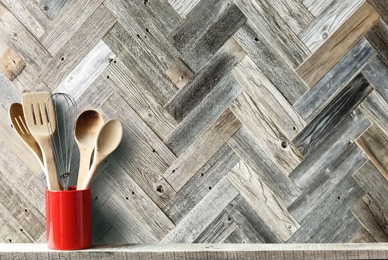 ft. Barnwood Wall Planks in Herringbone Reclaimed Wood Wall 20 sq Simple Peel and Stick Rustic BarnWood