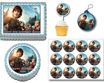 How to train your dragon cake topper etsy how to train your dragon 2 edible birthday cake toppers plastic cupcake picks gift tags or stickers ccuart Gallery