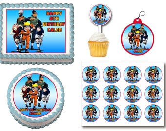 Naruto birthday etsy naruto edible birthday cake toppers plastic cupcake picks gift tags or stickers stopboris Choice Image