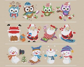 Christmas Sampler Cross Stitch Pattern,  Christmas Ornament Cross Stitch Pattern, DMC  X-stitch Chart Needlepoint PDF Instant Download