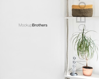 Download Free Empty wall mockup White background mock up nordic room mock-up mockups for posters mock ups for printables interior mock-up mock-ups PSD Template