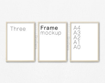 Three portrait frame mockup, A4 brown wood triple frame mock