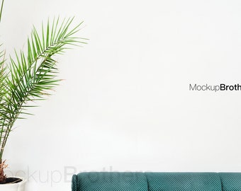 Download Free Mockup with palm tropical home mockups green sofa mock up mockup for paintings empty wall mock-up poster mock ups stock photo PSD Template