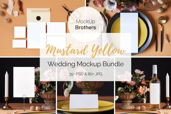 Download Stationery Mock Up Bundle Wedding Mockup Collection Yellow Etsy PSD Mockup Templates