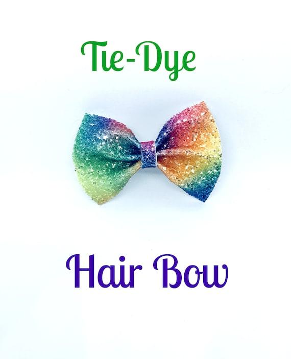 Orange tie dye piggie bows 3 or 4 inches