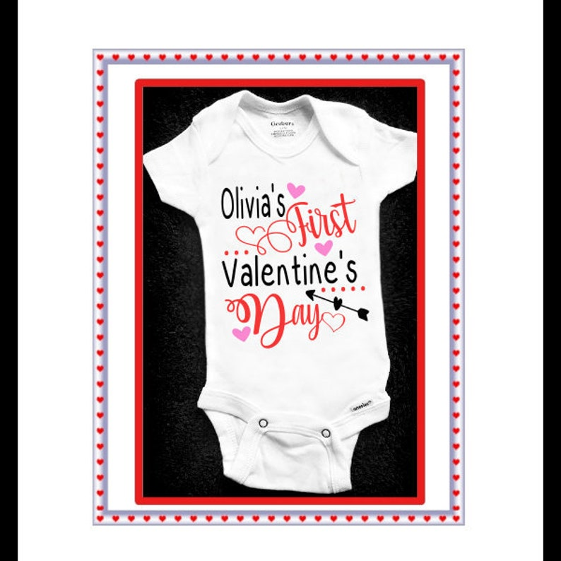 Baby/'s 1st First Valentine/'s Day Personalized T Tee Shirt Girl