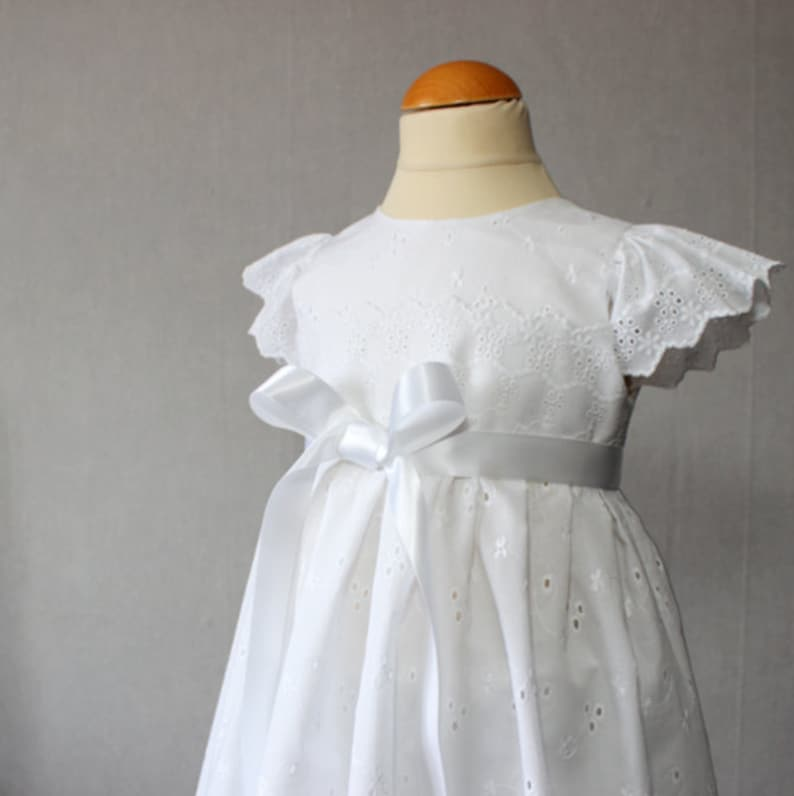 Toddler Dress Baptism Dress Embroidered christening gown Blessing Dress Eyelet Baby Dress LaceBaptism Gown White Baby Dress