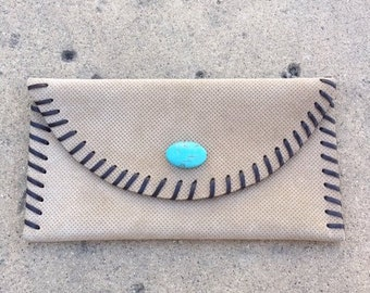 Leather Clutch with Turquoise, Clutch bag, Leather evening bag, Tan leather clutch, Leather purse, Every day clutch