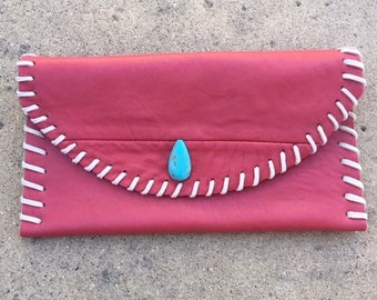 Leather Clutch with Turquoise, Clutch bag, Leather evening bag, Coral leather clutch, Leather purse, Every day clutch