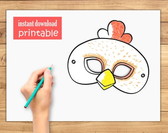 Farm Party Printable Mask Chicken Rooster Animal Favor