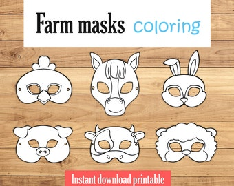 rabbit mask pig mask animal masks horse mask printable animal party favor farm animals party printable kids party activity instant download