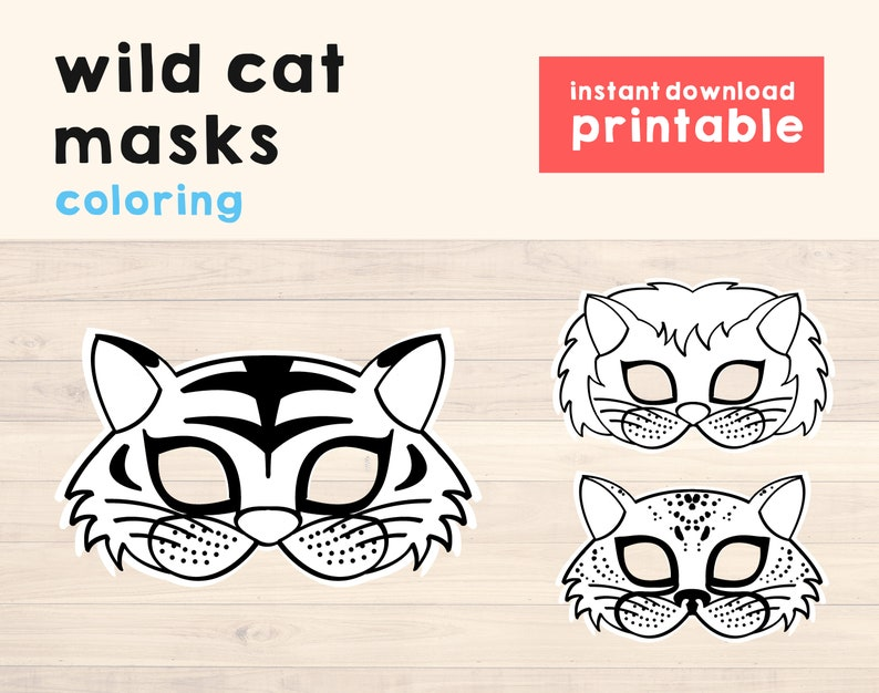 Lion Mask Cat Masks Printable Lion Birthday Party Props Cat image 0