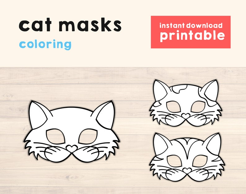 Cat Masks Printable Cat Birthday Party Props Kitty Mask Cat image 0