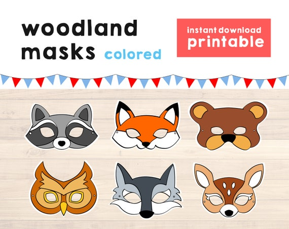 picture about Printable Wolf Masks named Woodland mask Animal mask Fox mask Wolf mask Animal mask Animal Get together Animal Printable Masks Woodland Pets Quick Obtain