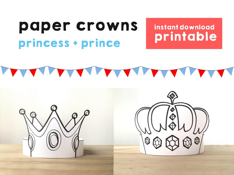 photograph regarding Printable Kid Crafts named Princess Paper Crown Prince Coloring Printable Youngster Craft Princess Birthday Bash Printable Choose Princess Gown Printable Instantaneous Down load
