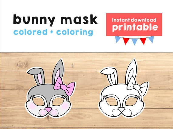 photo about Printable Bunny Mask titled Bunny mask Easter social gathering print Rabbit mask Youngsters Social gathering Desire Rabbit printable Bunny printable Animal Celebration prop Farm Animal Printable Mask