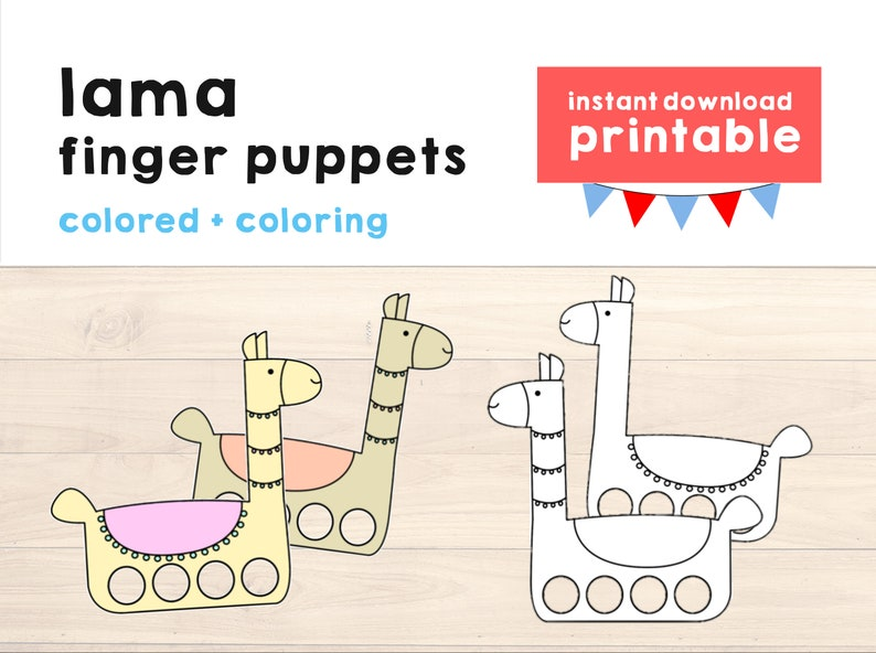 graphic regarding Paper Crafts Printable named Lama paper craft printable Finger Puppet Small children Craft Lama Birthday Occasion Lama Craft Small children Coloring Lama Puppet Printable Instantaneous Down load