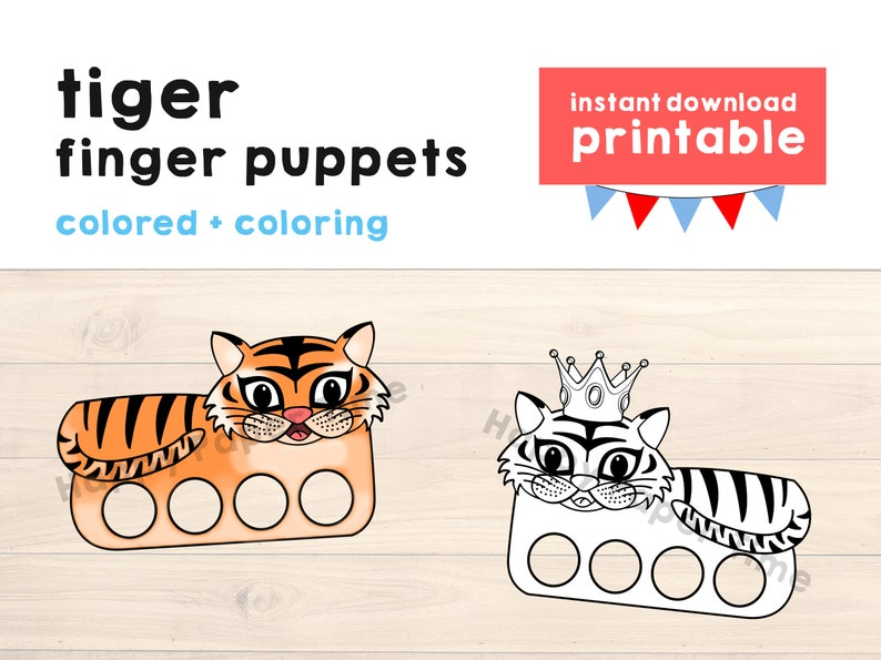 Groovy Tiger Paper Craft Printable Finger Puppet Kids Craft Tiger Birthday Party Tiger Craft Kids Coloring Tiger Puppet Printable Instant Download Home Interior And Landscaping Analalmasignezvosmurscom