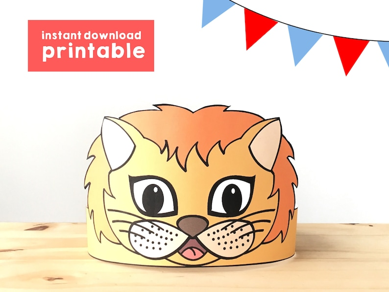 image about Printable Kids Craft named Lion Paper Crown Get together Printable Young children Craft Lion Birthday Present Like Animal Crown Printable Lion Dress Do-it-yourself Printable Quick Obtain