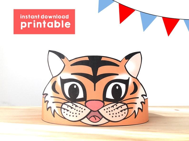 Tiger Paper Crown Party Printable Kids Craft Tiger Birthday Gift Favor  Animal Crown Printable Tiger Costume DIY Printable Instant Download