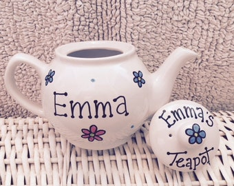 Personalised teapot (any message/name) bridesmaid/best friend/wedding/new home/anniversary/birthday/gift for tea lover/father's day teapot