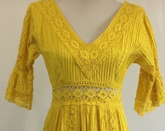 Vintage Boho Mexican Dress/1960s/ Yellow