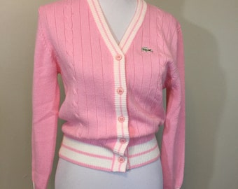 68fbdb0986bbd Vintage 1980s Pink White Lacoste Haymaker Cardigan Sweater