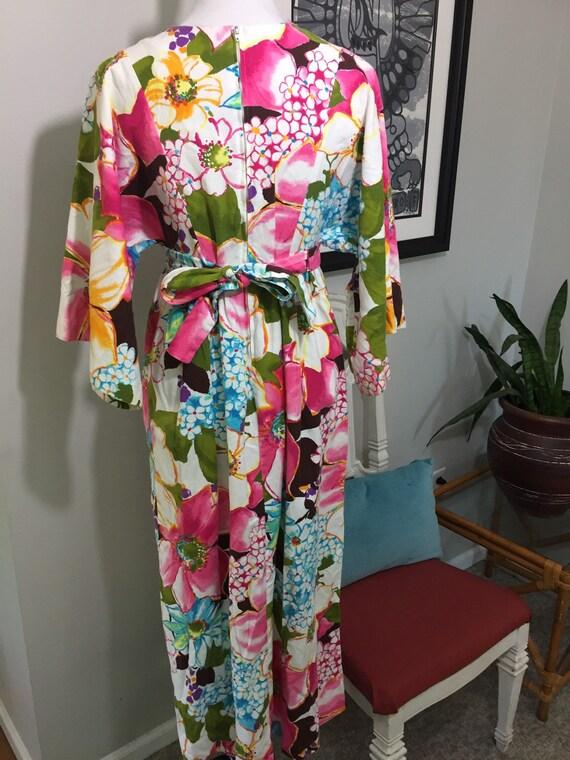 1970s Vibrant Floral Barkcloth Maxi Dress//Kimono… - image 3