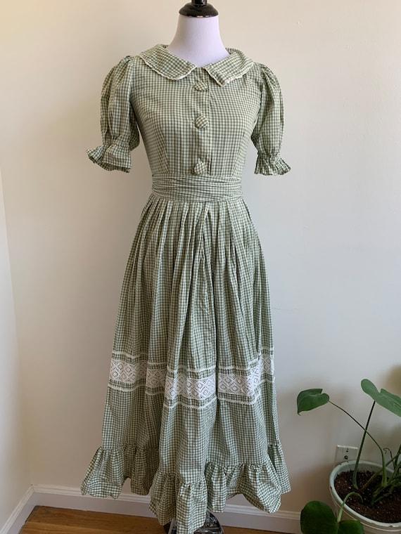 Vintage Handmade Gingham Prairie dress, xs-sm - image 1