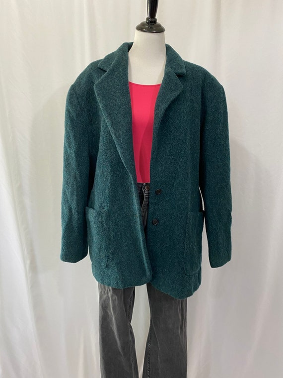 Deep Green Wool and Mohair Oversized Woolrich Bla… - image 6