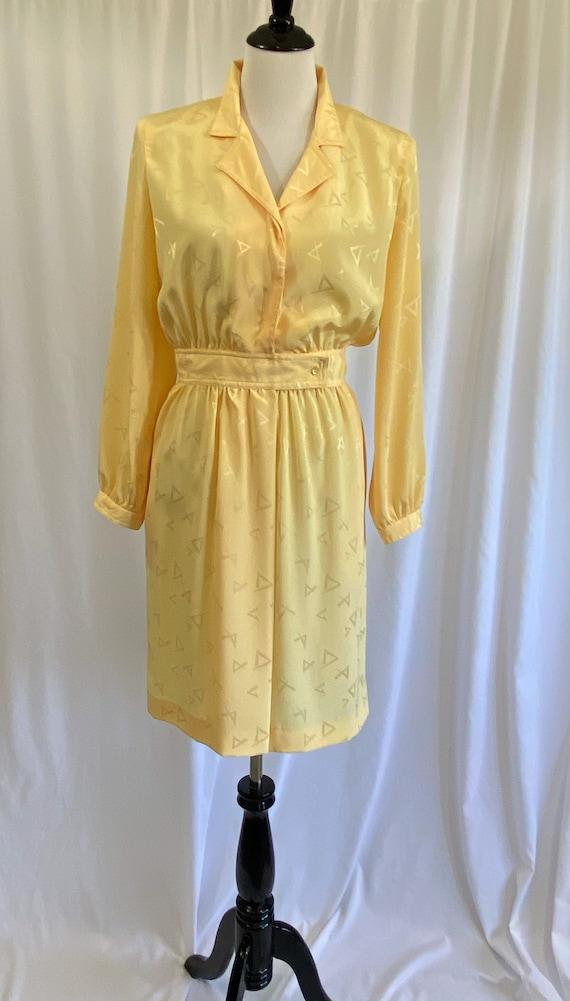 1980s Sunny Yellow Fitted Waist Petite Dress