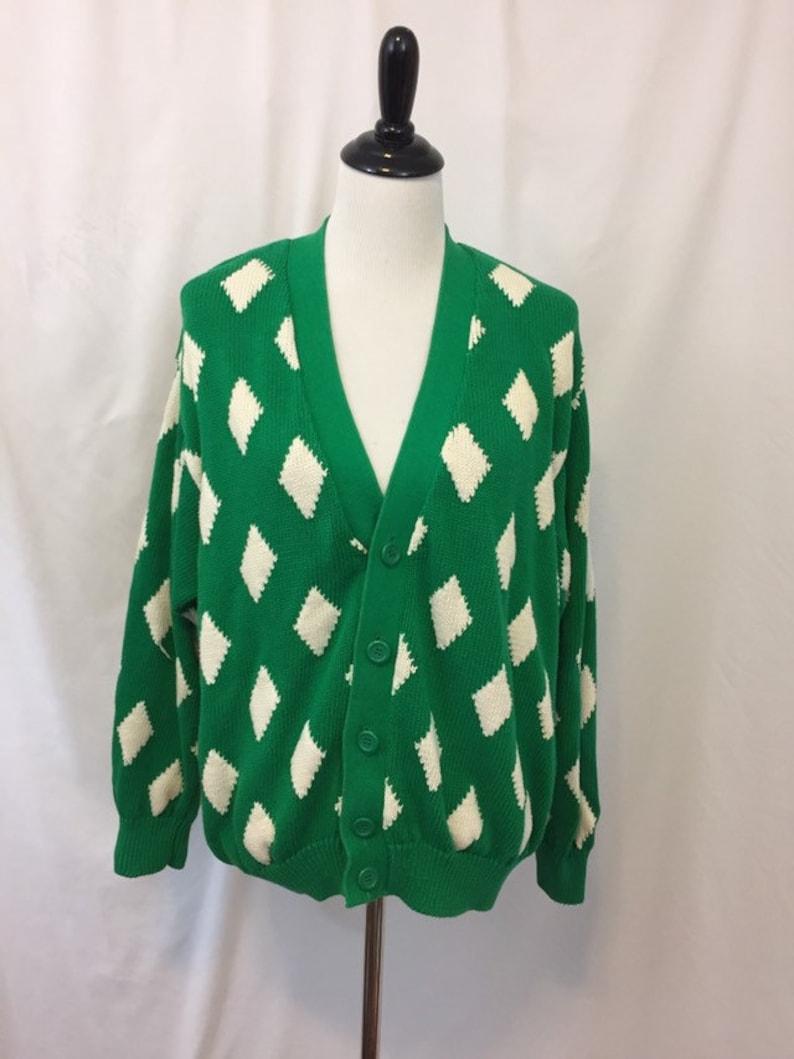 United  Colors of Benetton Green Oversized Cardigan//Diamond image 0