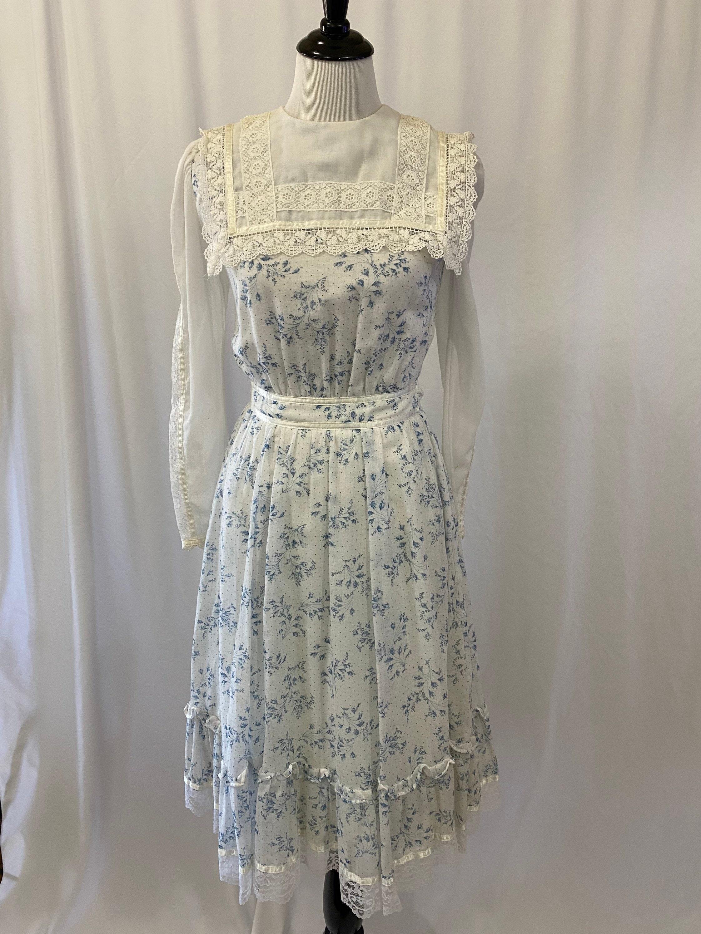 80s Dresses | Casual to Party Dresses Vintage 1980S Gauzy Blue Floral Gunne Sax By Jessica Edwardian Style Dress $25.00 AT vintagedancer.com