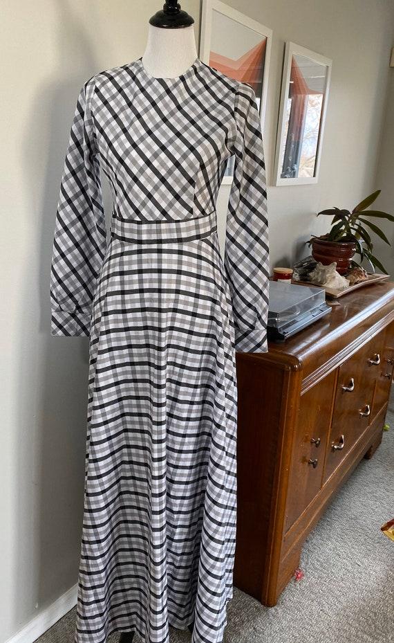 Vintage 1970s Gingham Maxi Dress