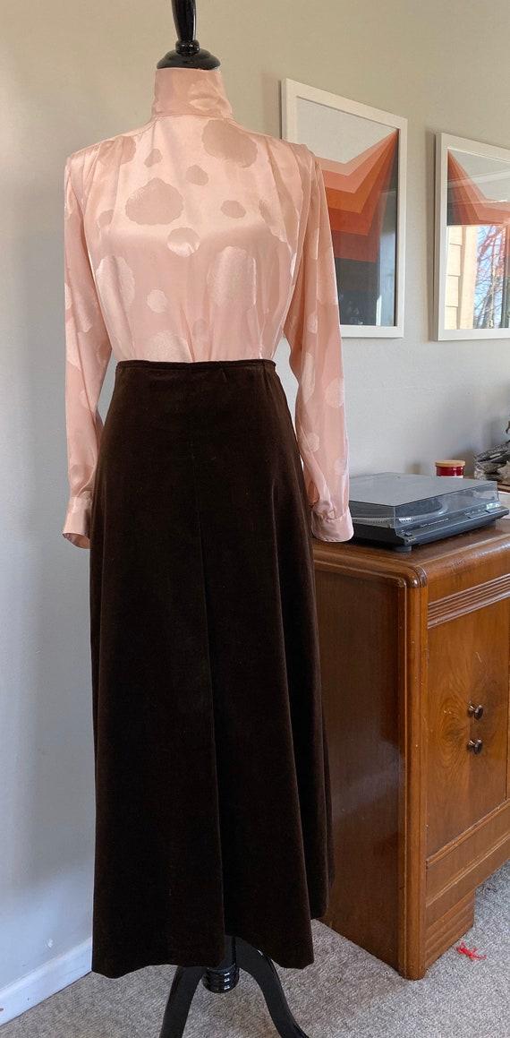 Vintage Handmade Brown Velveteen Maxi Skirt