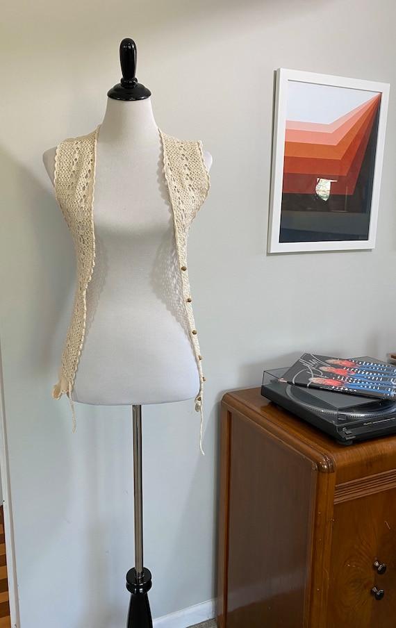 Vintage 1970s Boho Crochet Vest