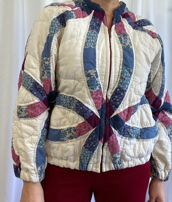 Vintage Handmade Double Wedding Quilt Bomber Jacke