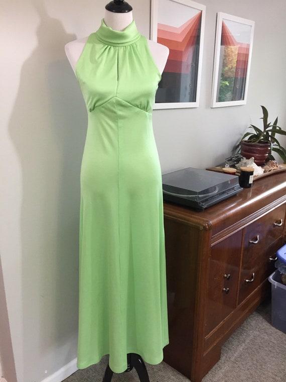 Slinky 1970s Lime Green Keyhole Neckline Maxi Dres