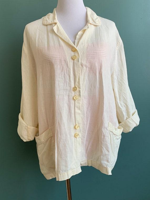 Vintage Boxy Loungewear Linen Shirt