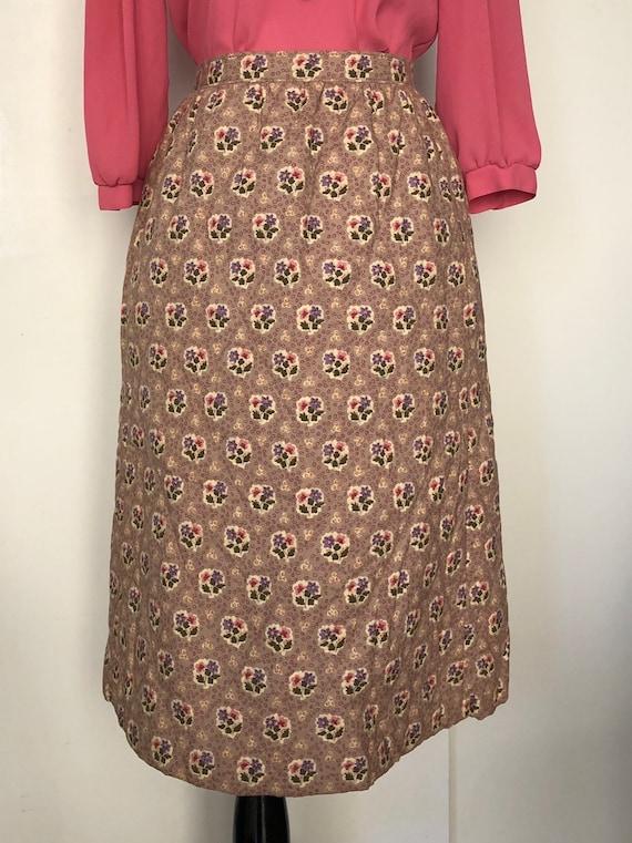 Handmade gold floral midi skirt vintage 70s Sm mec