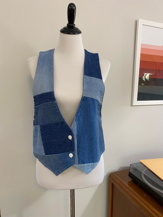Amazing Patchwork Denim Handmade Upcycled Vest