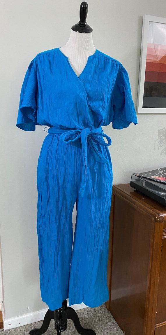 1980s Vibrant Blue Gauzy Cotton Vintage Jumpsuit