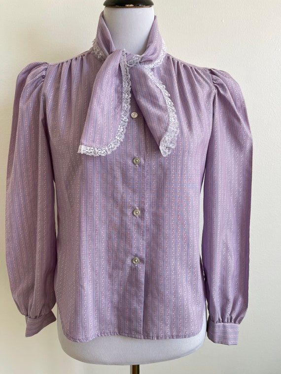 1980s Puff Sleeve Lavender Blouse by Fritzi