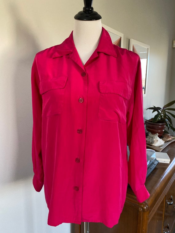 1990s Hot Pink Hunt Club Silk Blouse