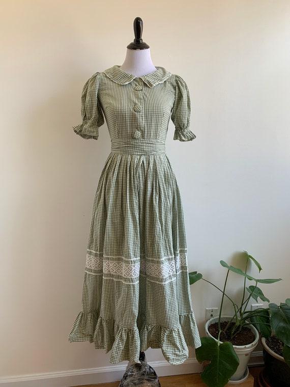 Vintage Handmade Gingham Prairie dress, xs-sm - image 2
