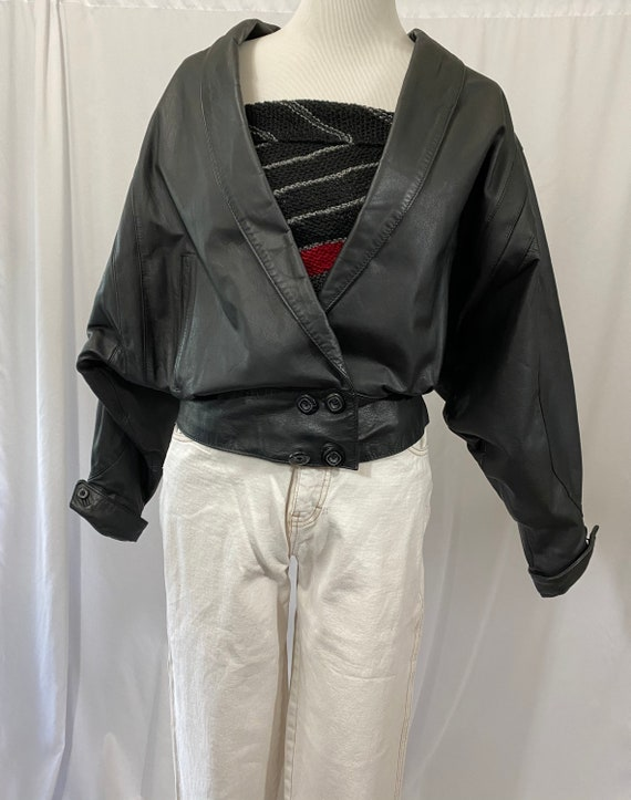 1980s Wilsons Black Slouchy Leather Jacket