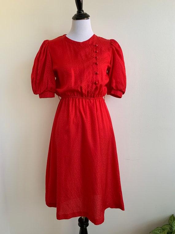 Vintage Red Puff Sleeve Slip On Dress, Sm-M