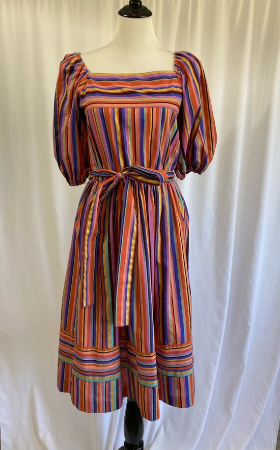 Vintage Colorful Striped Puff Sleeved Full Skirt D