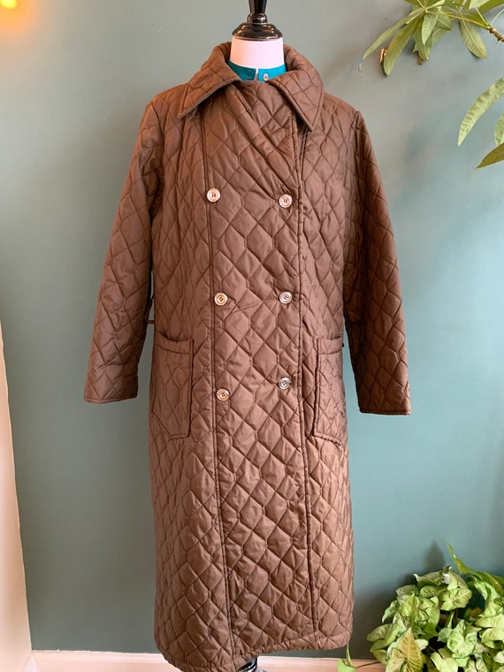 Vintage Quilted Long Montgomery Ward Brown Coat, X